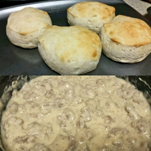 Biscuits with homemade gravy