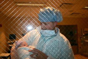 My husband, Brent, with our son Grayson just after he was born in the nursery. I want to cry everytime I look at this picture.