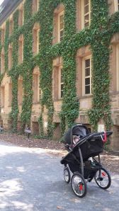 Grayson enjoying the view of one of my favorite buildings on campus! The ivy is gorgeous.