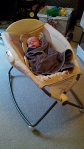 This was shortly after I purchased the Rock n Play Sleeper. This was his first official nap in it!