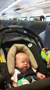 Grayson's first train ride.